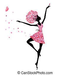 bailarina, niña, flor