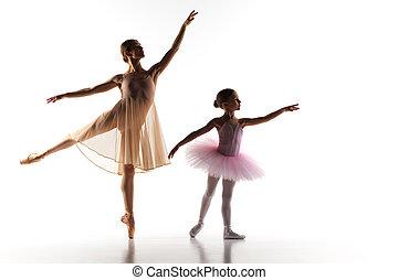 bailarina, poco, bailando, personal, ballet, estudio de la ...