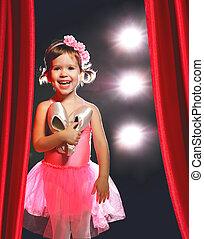 bailarina, poco, ballet, escenas, bailarín, niña, lado, rojo, etapa