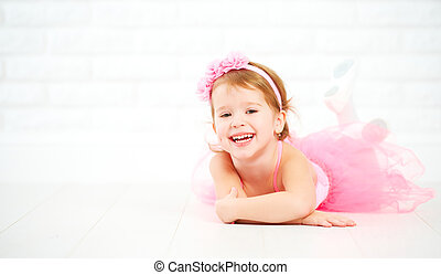 bailarina, poco, favorecedor, niño, niña, sueños