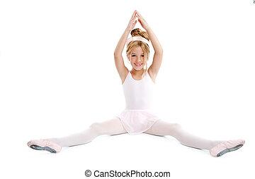 bailarina, poco, sentado, extensión, bailarín de ballet clásico, niños