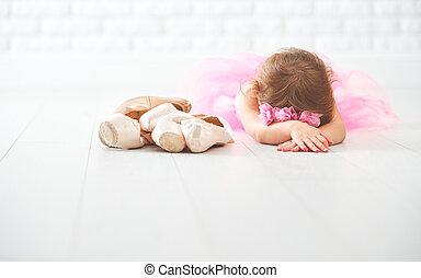 bailarina, poco, shoes, ballet, niño, niña, pointe