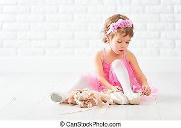 bailarina, poco, shoes, favorecedor, ballet, niño, niña, sueños, pointe