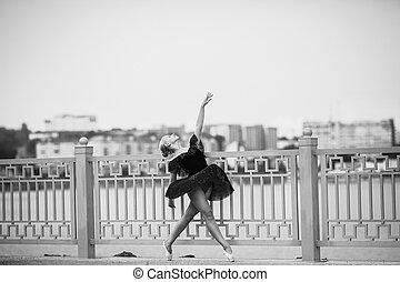 bailarina, posar, lago, plano de fondo