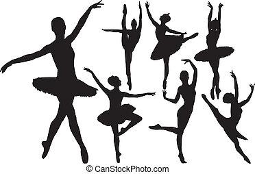 bailarina, silhuetas, vetorial