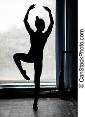 bailarina, silueta, bailando