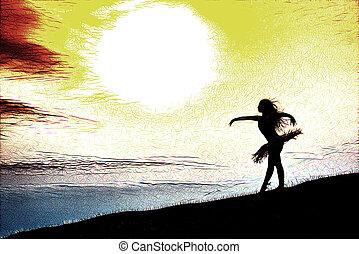 bailarina, silueta, bailando, solamente, en, naturaleza, en las montañas, en, ocaso