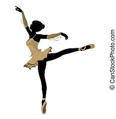 bailarina, silueta, ilustración