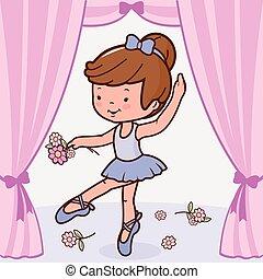 bailarina, stage., bailando, ilustración, vector, niña