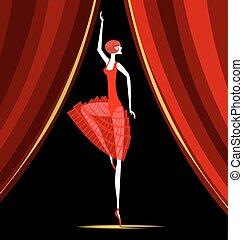 bailarina, vermelho, dançar