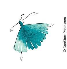 bailarina, vetorial, desenho, figura, mão