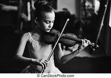 bailarina, y, violinista