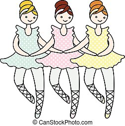 bailarinas, boneca, cisne, ilustração, dance., tilda, pequeno, durante