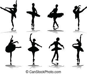 bailarinas, com, reflexão