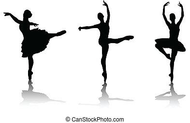 bailarinas, silhuetas