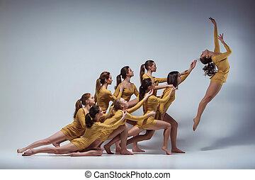 bailarines, ballet, moderno, grupo