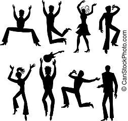 bailarines, cantantes, conjunto, (man, woman)