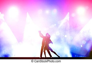 bailarines, elegante, bailando, club, pareja, postura, luces...