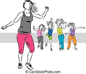 bailarines, grupo, zumba, ilustración, d