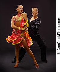 bailarines, negro, contra, plano de fondo