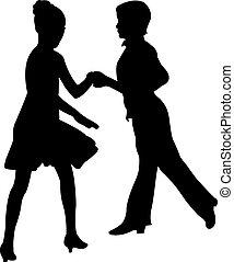 bailarines, pasión, tango, piso