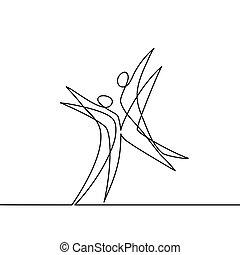bailarines, resumen, continuo, dibujo lineal