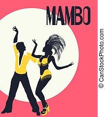 bailarines, tarjeta, mambo