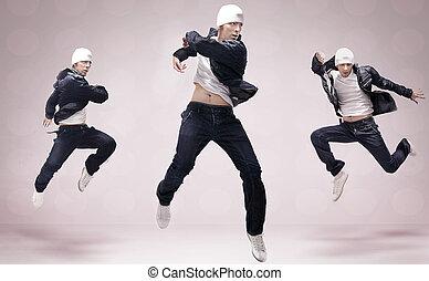 bailarines, tres, cadera-salto