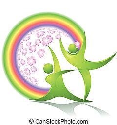 bailarines, verde, eco-icon