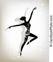 bailarino balé, desenho, seu