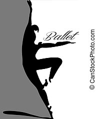 bailarino balé, silueta, 3, letterin