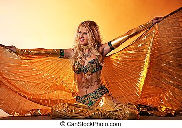 baile, árabe, amaestrado, atractivo, mujer