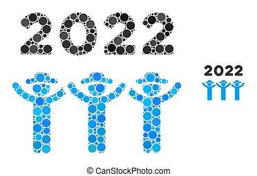 baile, 2022, mosaico, redondo, caballeros, puntos