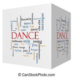 baile, 3d, cubo, palabra, nube, concepto