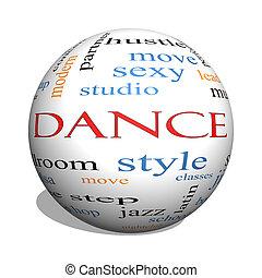 baile, 3d, esfera, palabra, nube, concepto