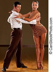 baile, acción, pareja, latino