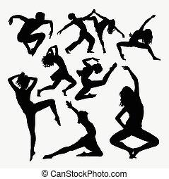 baile, actividad, silueta, estilo libre
