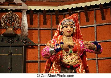 baile, actor., india, (cochin), kochi, kathakali, tradional
