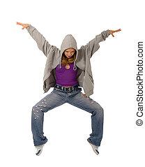 baile, blanco, bailarín, joven, plano de fondo