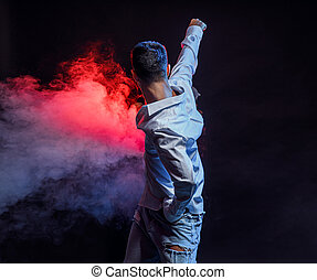 baile, calle, actuar, hombre, bailarín, diestro, grande