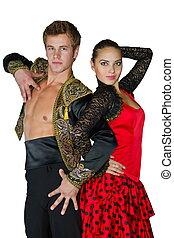 baile de mujer, imagen, par, apasionado, hombre