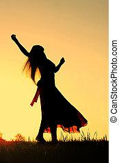 baile de mujer, silueta