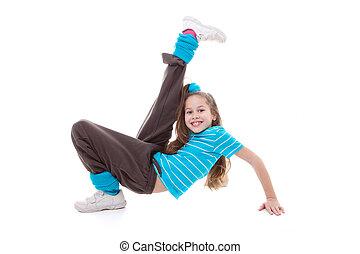 baile, ejercitar, niño