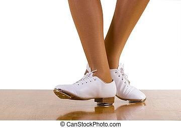 baile, frente da paso, lado, tap-top/clog