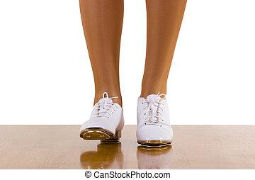 baile, frente da paso, tap-top/clog