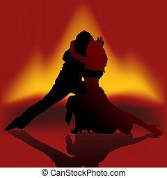 baile, fuego, tango