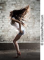 baile, girl., pelos, lujo