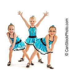 baile, golpecito, trío, principiante, niñas