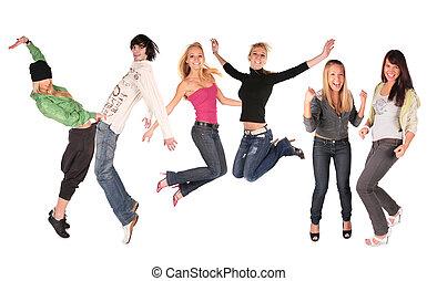 baile, grupo, gente
