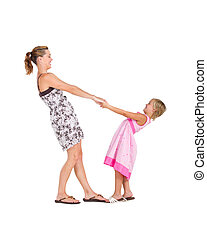baile, hija, madre